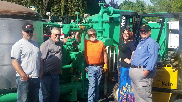 Pictured above are members of ARC and LA Perks Petroleum standing in front of a ClearRefining® Unit that was sent via ship to the Netherlands. This unit is expected to arrive Mid-June where it will be used in trial to upgrade BioDiesel. (Left to Right: Chad Roukey, Lee Perks, Charles Bump, Kylee Bozarth, and Jim Brandmueller)