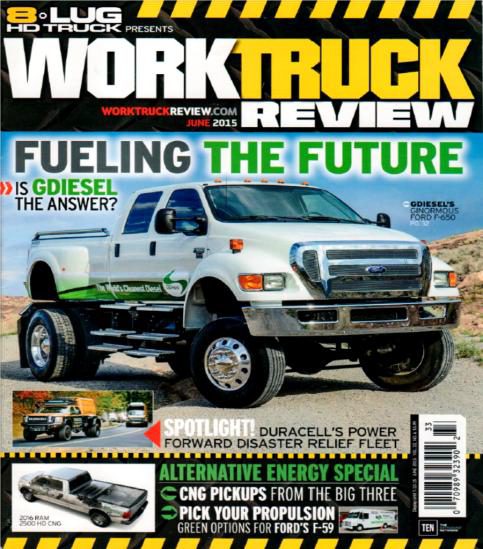 Pictured above is the cover of Work Truck Review featuring GDiesel article written by Mr. Steve Temple