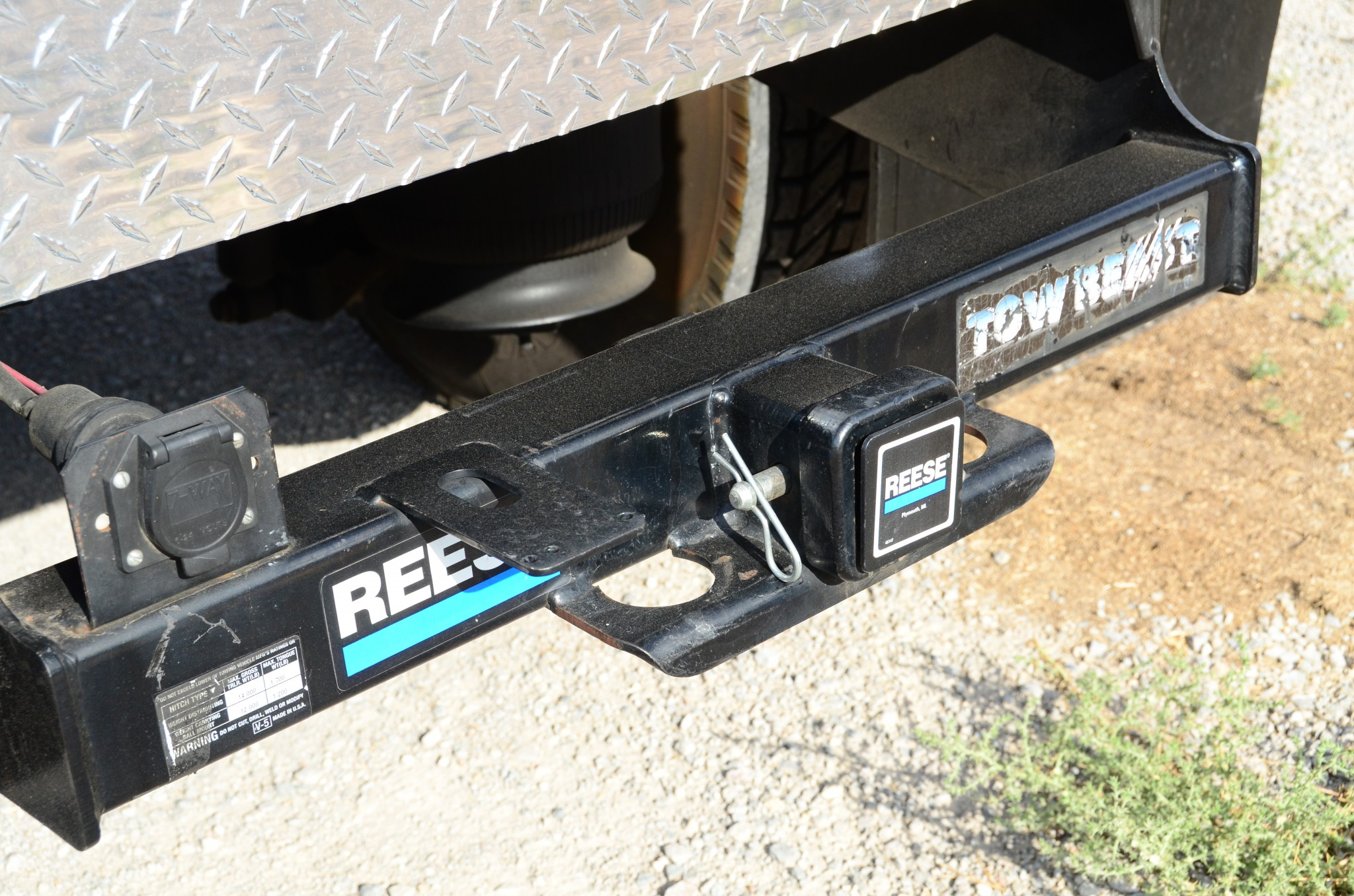 The Reese Class 5 hitch is awesome for towing a 25-foot travel trailer or 16-foot car trailer carrying a Jeep CJ-7 rock crawler.