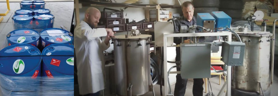 (Left) Barrels of GDiesel® sent to the University of Arizona for comparative emissions testing; (Right) Key Group personnel begin the process of upgrading the Generation 3 GDiesel® demonstration unit after arrival in Prague.