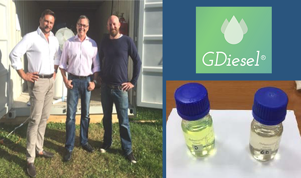 Image on left: Representatives of Capital Energy, ARC, and Key Group standing in front of ARC's Generation 3 Test Unit in Prague. Image on right: First Samples of EU Diesel Feedstock and GDiesel® Product produced in Europe.